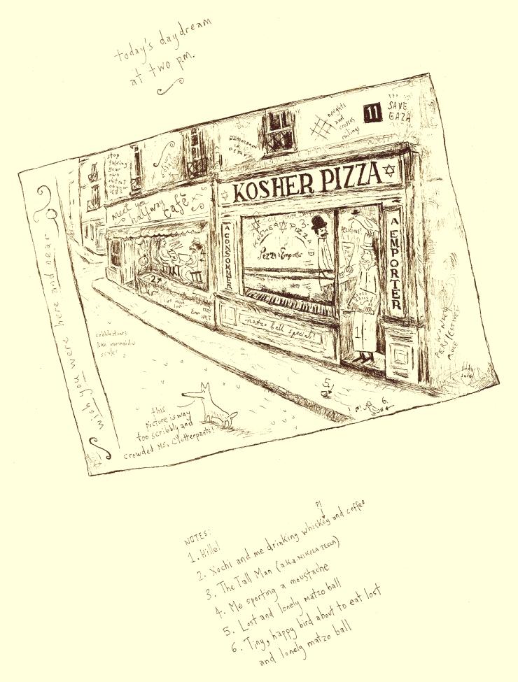 kosher pizza - sepia