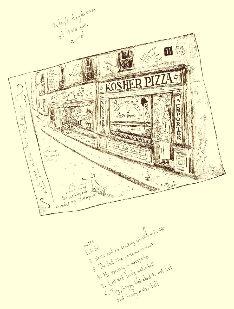 kosher pizza - sepia